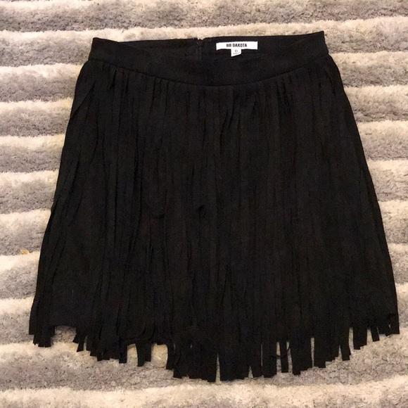 BB Dakota Dresses & Skirts - Black Fringe Skirt